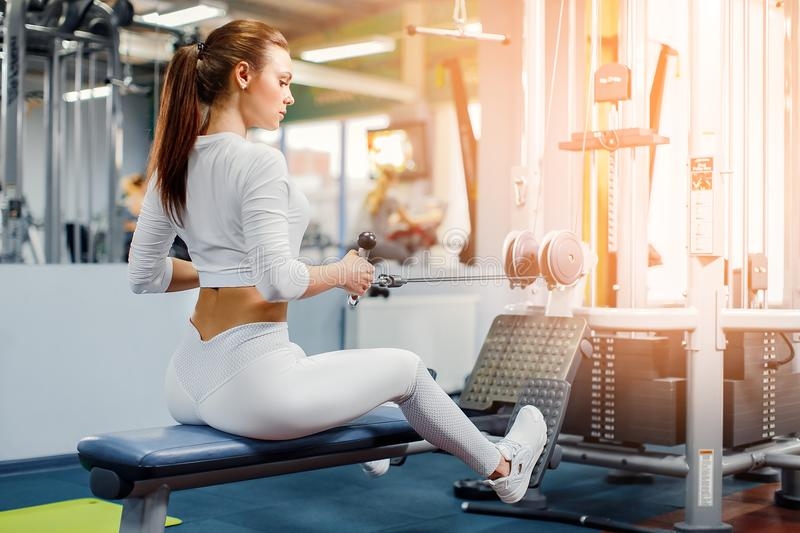 Woman training with weight-lifting training machine. Young Woman training back with weight-lifting training machine royalty free stock image
