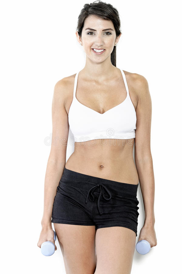 Download Woman Training With Weights Stock Photo - Image of smiling, shorts: 26822564