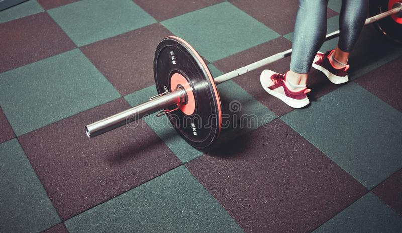 Woman trains in the gym with a barbell stock image