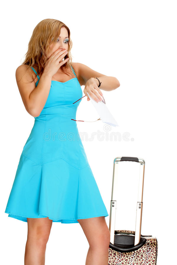 Download Woman with travel suitcase stock photo. Image of cheerful - 18759992