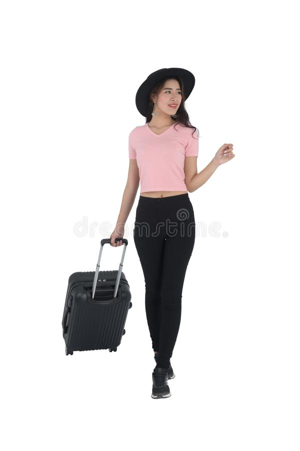 Woman traveler with suitcase royalty free stock images