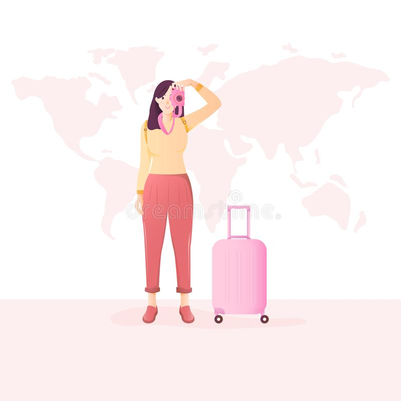 Woman traveler taking photo with camera. vector illustration