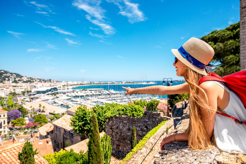 Woman traveling in Cannes royalty free stock photography