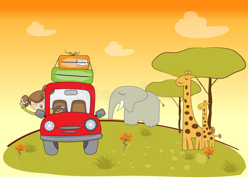 Woman traveling by car. Illustration in vector format royalty free illustration