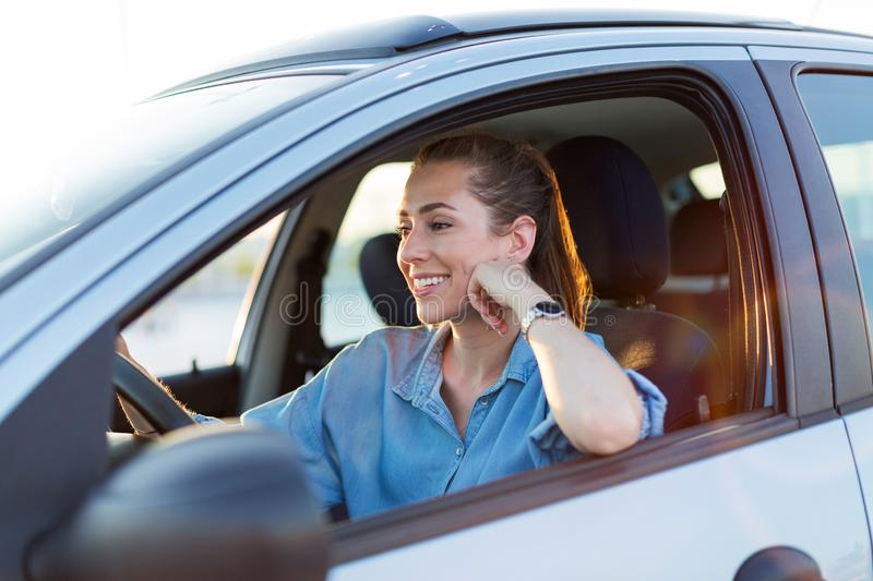 Woman traveling by car royalty free stock photo
