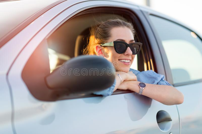 Woman traveling by car royalty free stock image