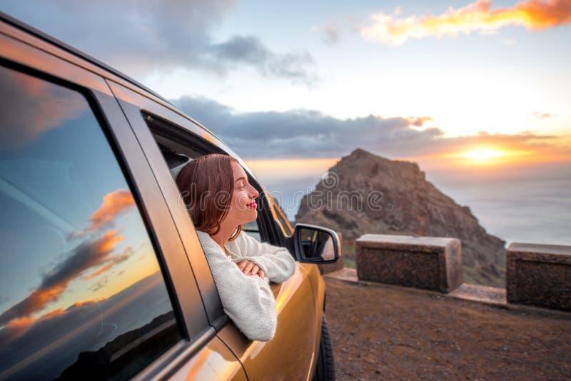 Woman traveling by car on La Gomera island royalty free stock photo