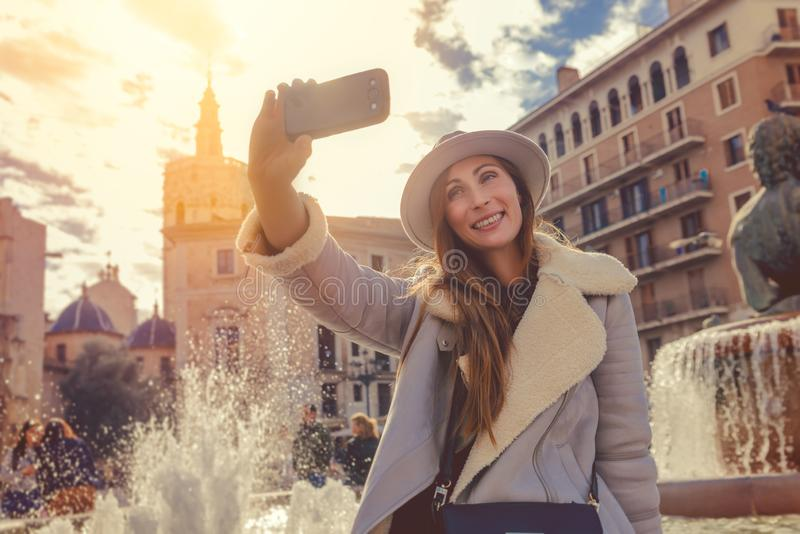 Happy city trip royalty free stock photography