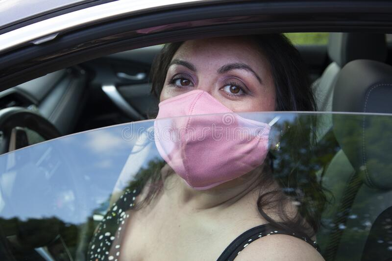 Traveling safely with mask stock photos
