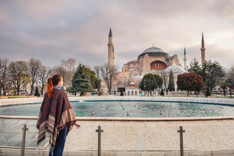 Woman traveling in Istanbul near Aya Sofia mosque, Turkey stock images