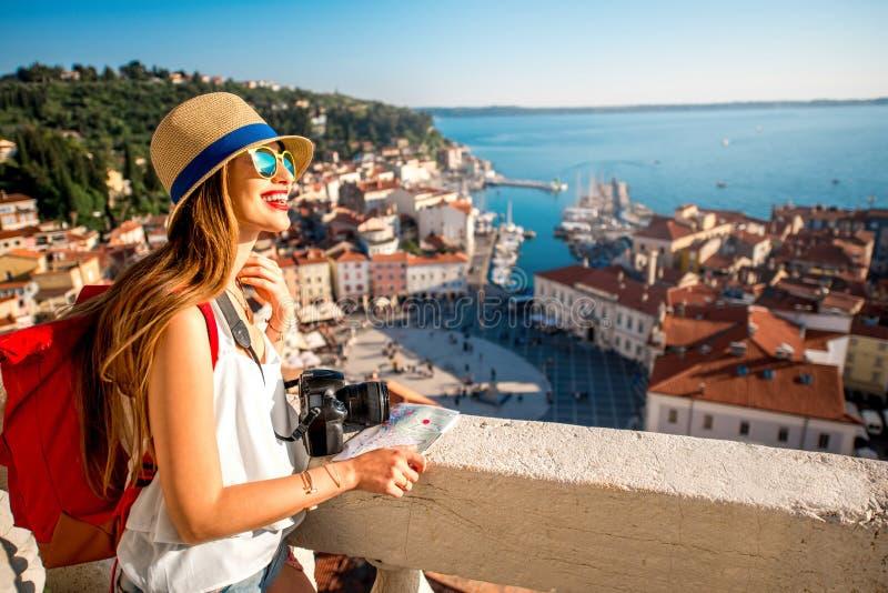 Woman traveling in Piran town royalty free stock photo