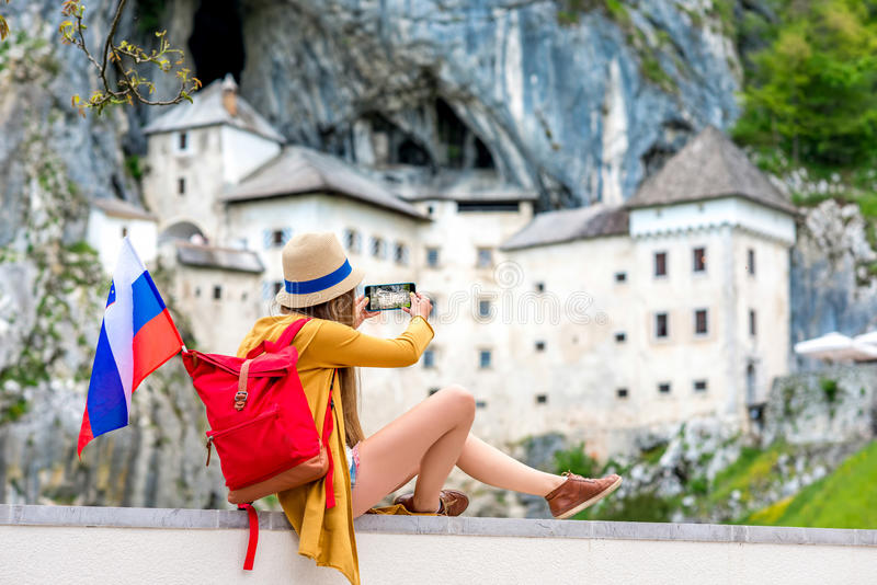 Woman traveling in Slovenia royalty free stock image