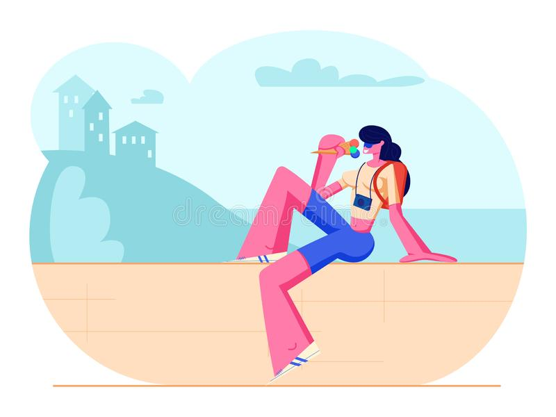 Woman Traveling on Summer Vacation, Tourist Girl with Photo Camera and Backpack Sit on Parapet Eating Ice Cream in Hot Weather stock illustration