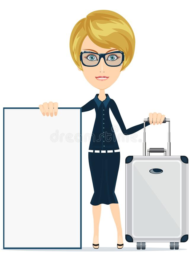 Woman travelling and having, with a poster. stock illustration