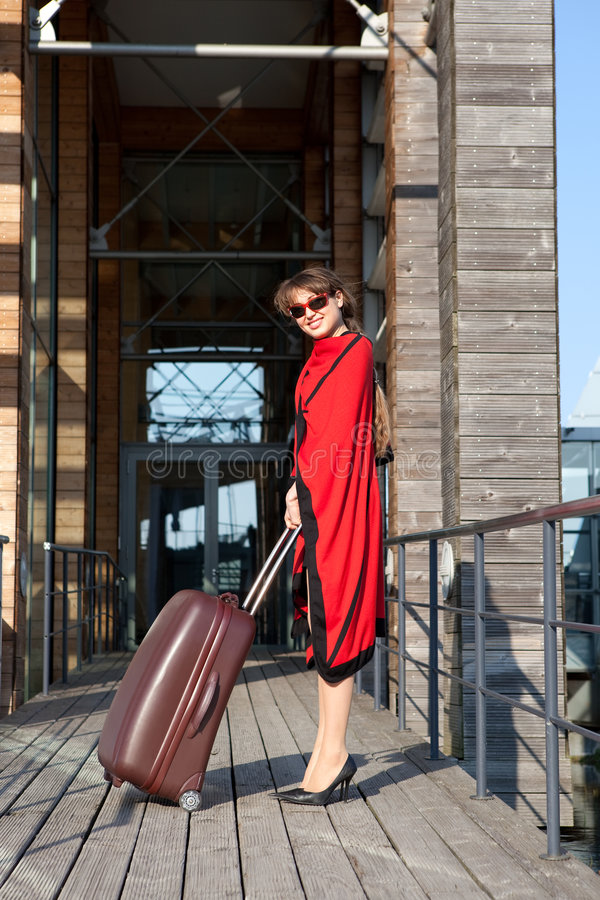 Download Woman Travelling With A Suitcase Stock Image - Image: 9001475