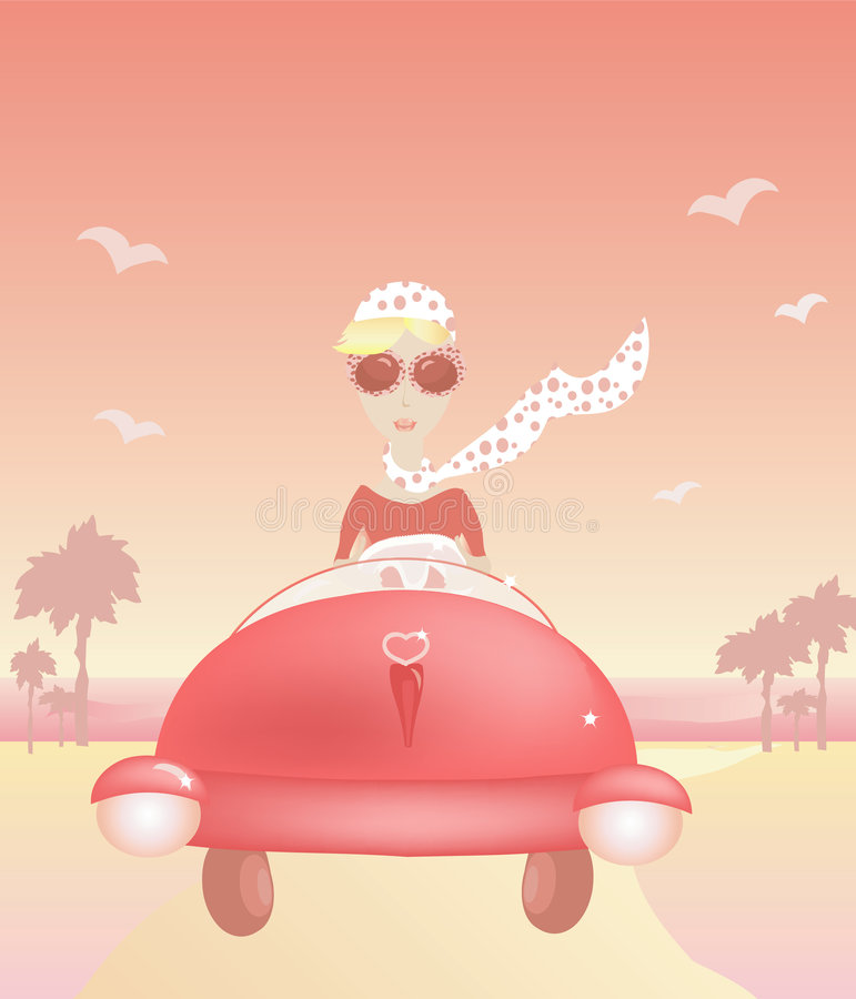 The woman travels on the car. The woman comes back from a beach by the car vector illustration