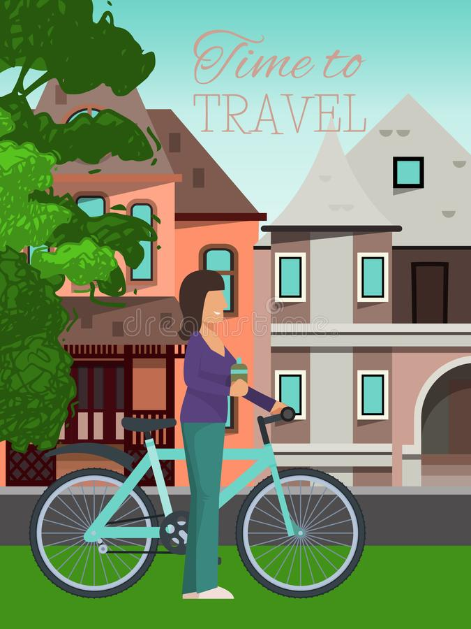 Woman travels riding bicycle poster vector illustration. Healthy lifestyle, outdoor activities. Time to travel concept stock illustration