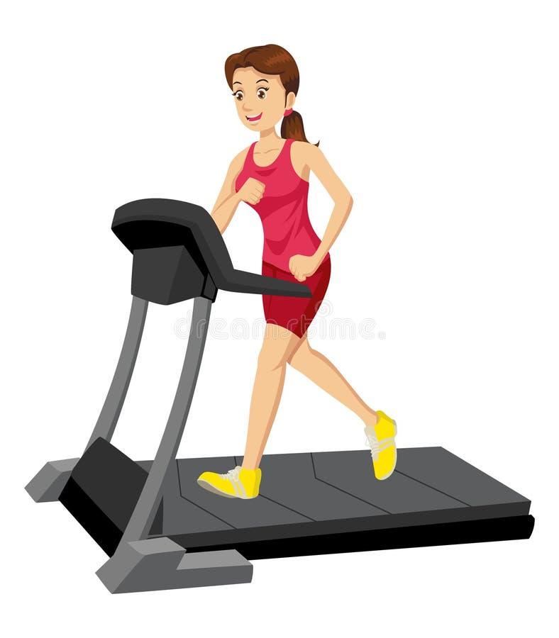 Woman On A Treadmill. Cartoon illustration of a woman on a treadmill stock illustration
