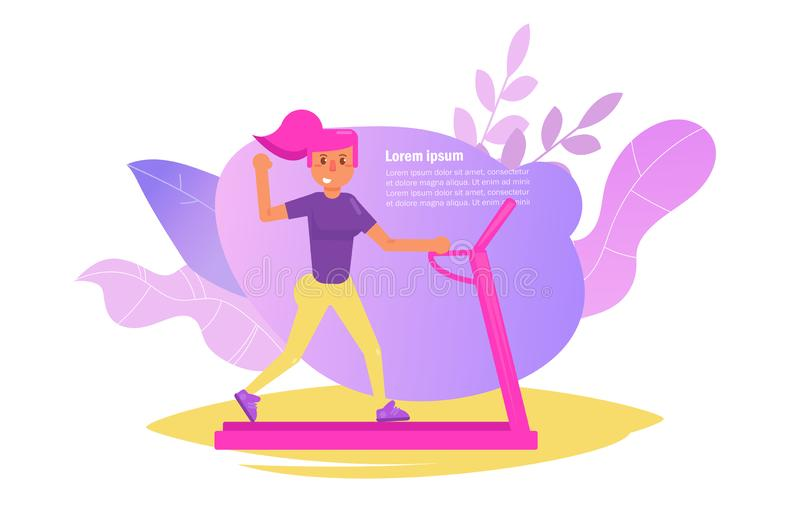Woman on the treadmill Vector. Cartoon. Isolated art on white background. Flat - Vector. Illustration royalty free illustration