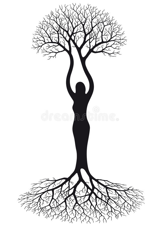 Woman tree. Illustration with tree silhouette of woman