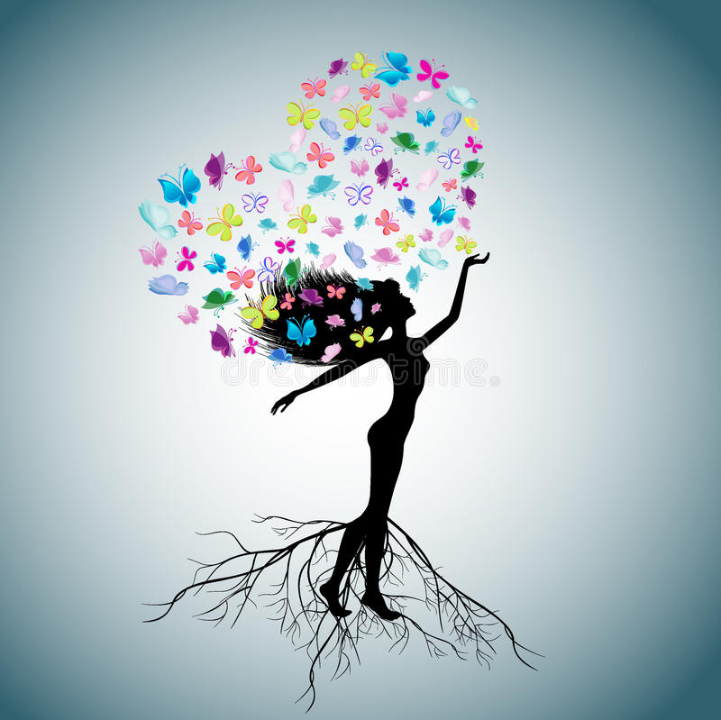 The woman - a tree royalty free illustration