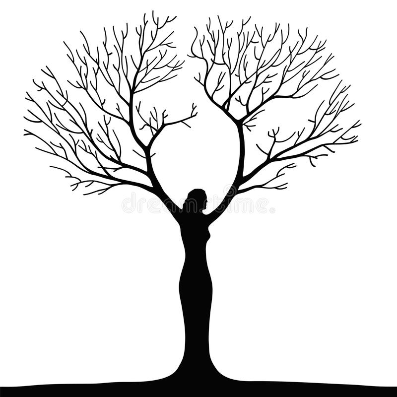 Woman tree stock illustration