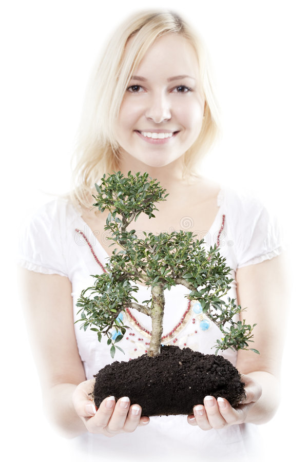 Download Woman with tree stock image. Image of dirt, expression - 8820083
