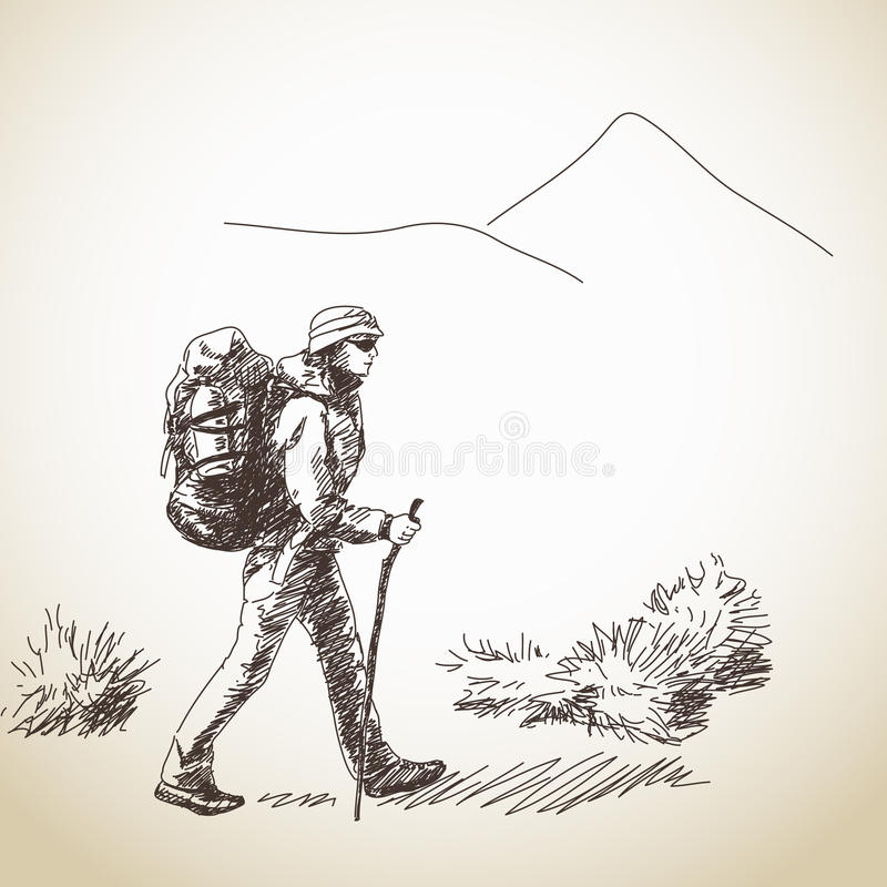 Woman trekking with backpack royalty free illustration