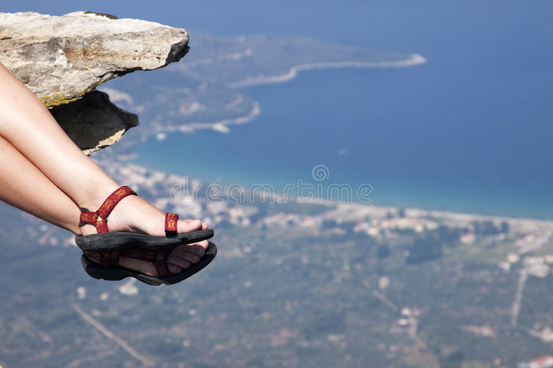 Woman with trekking sandals stock photo