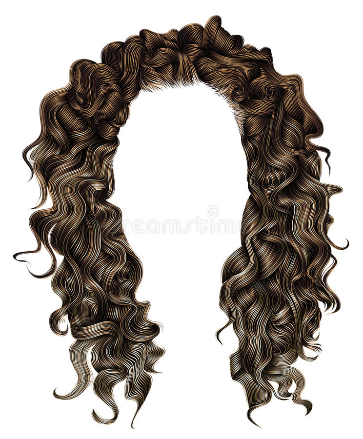 Woman trendy long curly brunette hairs wig brown . retro style . stock images