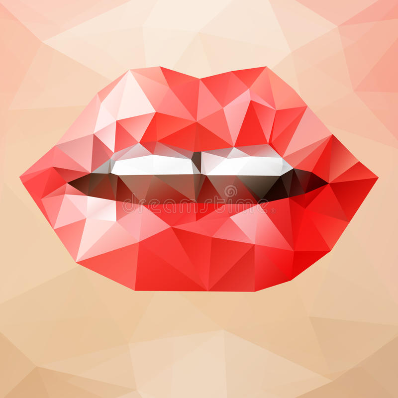 Woman Triangle Lips Stock Vector. Illustration Of Color