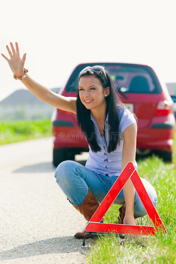 Download Woman With A Triangle Which Has Broken Down Stock Image - Image: 11122239