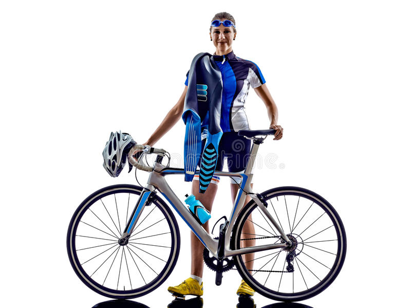 Woman triathlon ironman athlete cyclist cycling. On white background stock photo