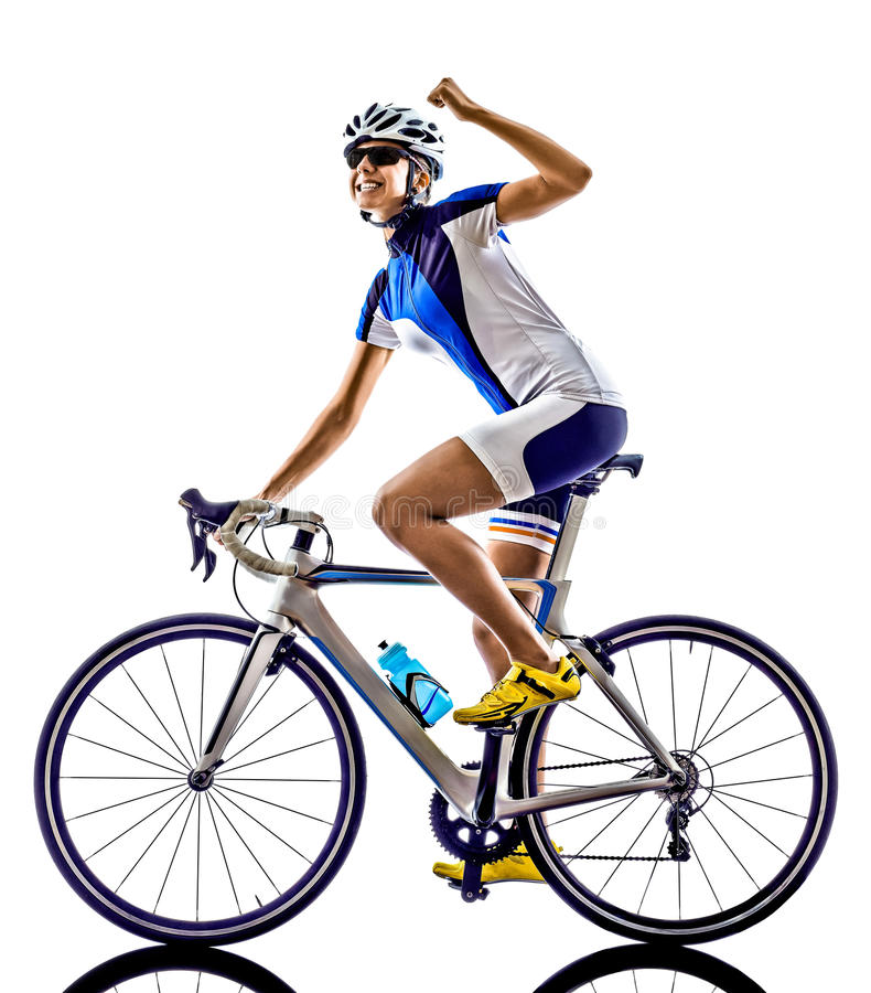 Woman triathlon ironman athlete cyclist cycling. On white background stock photography
