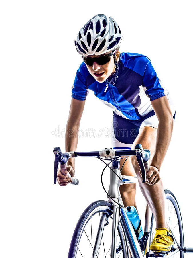 Woman triathlon ironman athlete cyclist cycling. On white background royalty free stock photo