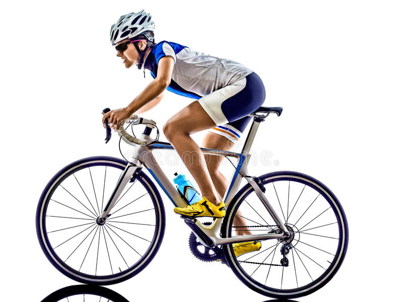 Woman triathlon ironman athlete cyclist cycling. On white background stock images