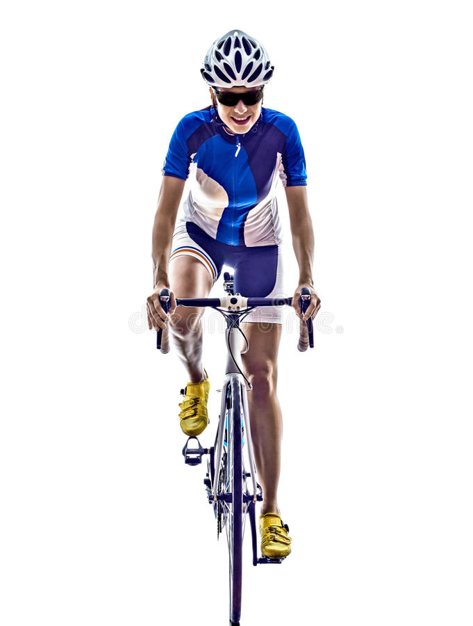 Woman triathlon ironman athlete cyclist cycling stock images