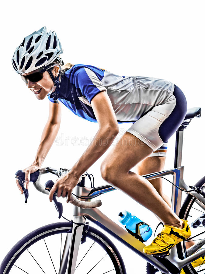 Woman triathlon ironman athlete cyclist cycling royalty free stock photos