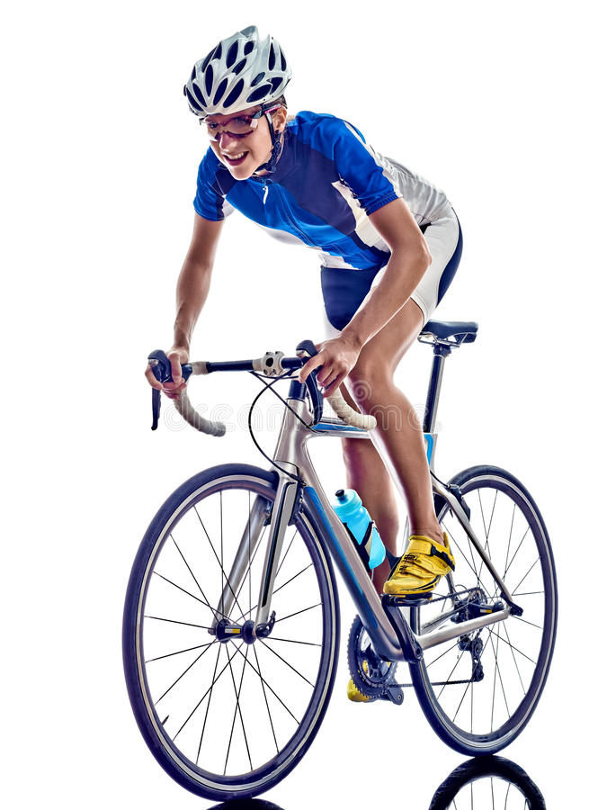 Woman triathlon ironman athlete cyclist cycling. On white background stock image