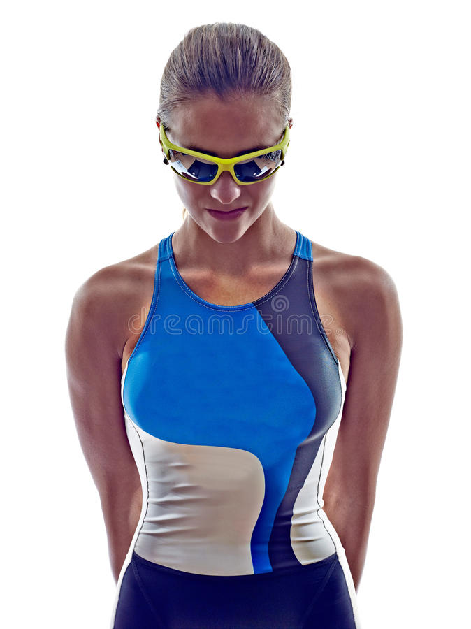 Woman triathlon ironman athlete. On white background royalty free stock image
