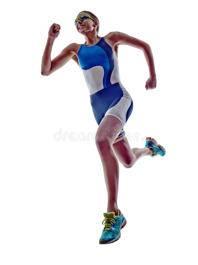 Woman triathlon ironman runner running athlete. Woman triathlon ironman athlete runner running on white background royalty free stock photos