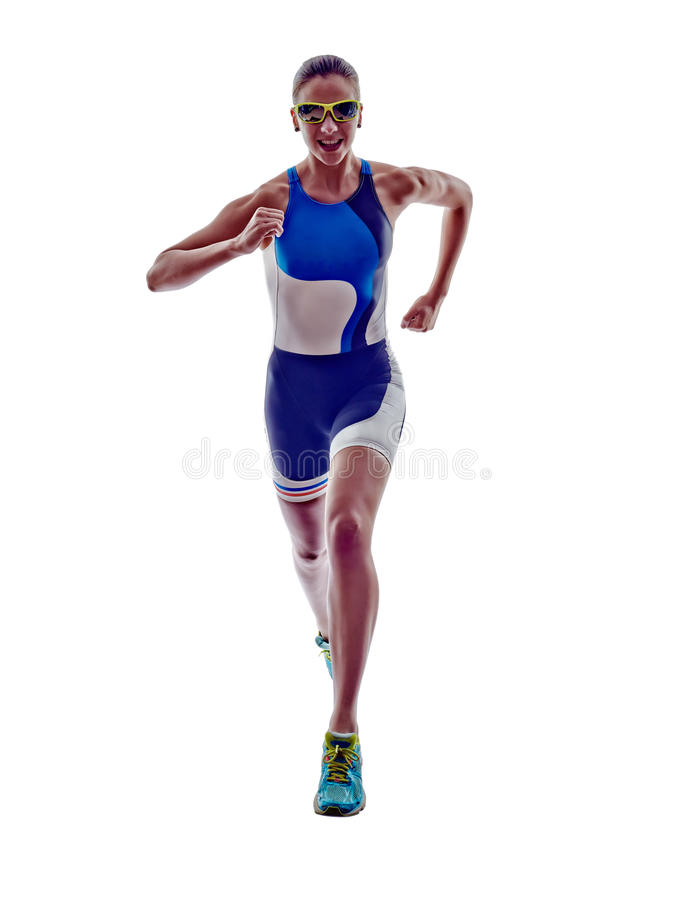 Woman triathlon ironman runner running athlete. Woman triathlon ironman athlete runner running on white background royalty free stock images