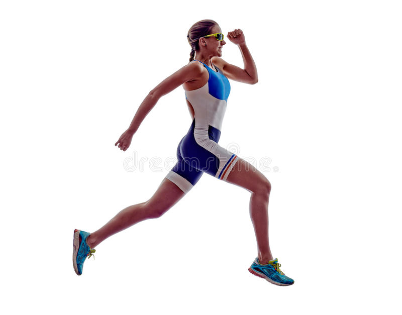 Woman triathlon ironman runner running athlete. Woman triathlon ironman athlete runner running on white background royalty free stock photo