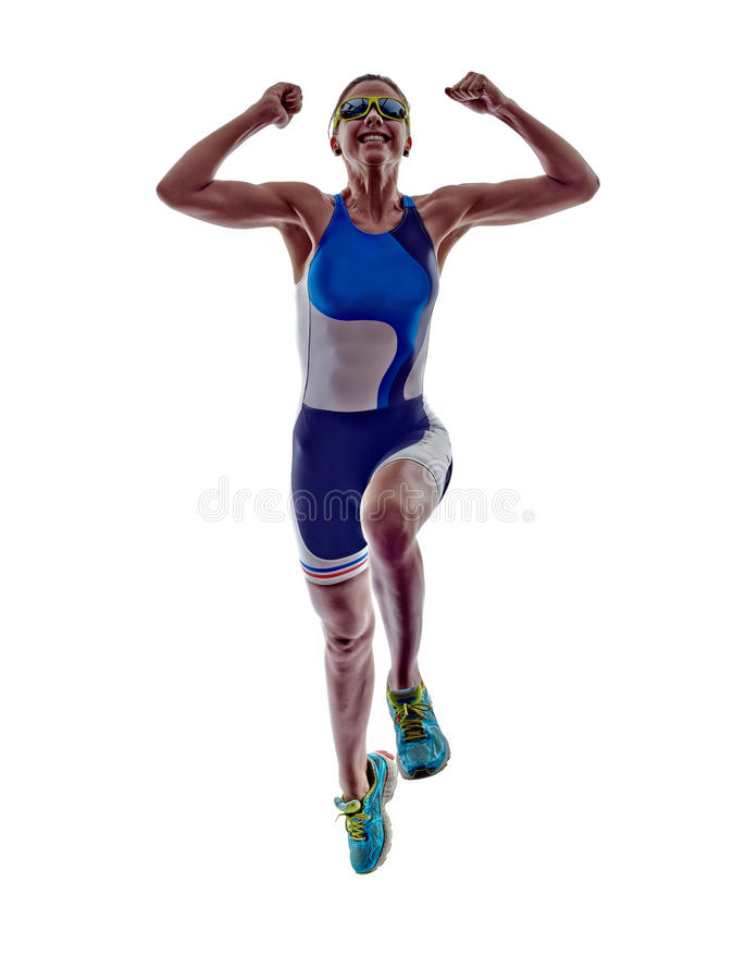 Woman triathlon ironman runner running athlete. Woman triathlon ironman athlete runner running on white background royalty free stock image