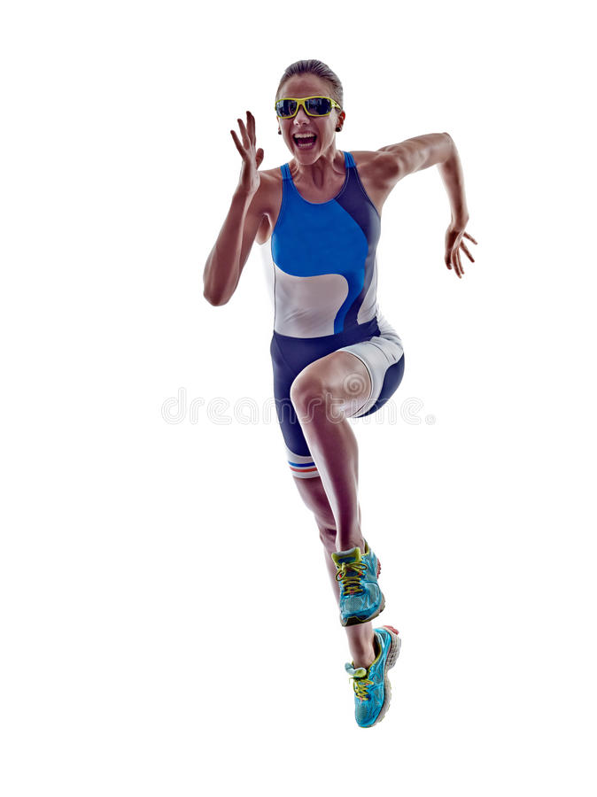 Woman triathlon ironman runner running athlete royalty free stock photos