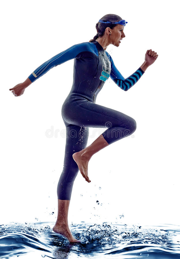 Woman triathlon ironman swimmers athlete. Woman triathlon ironman athlete swimmers on white background stock photography