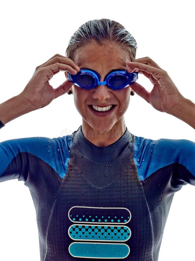Woman triathlon ironman swimmers athlete royalty free stock photo
