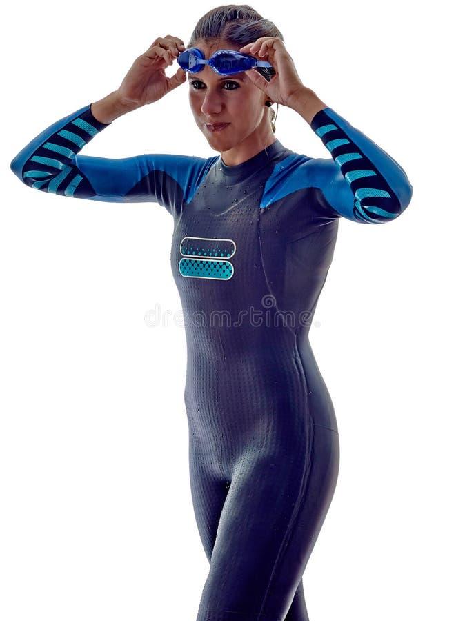 Woman triathlon ironman swimmers athlete stock images