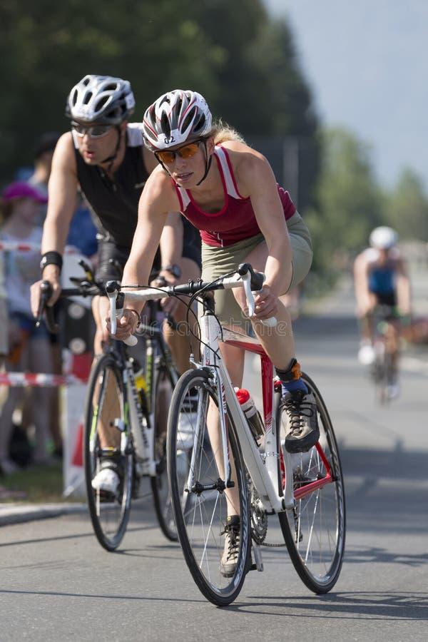 Woman in a triathlon royalty free stock photo