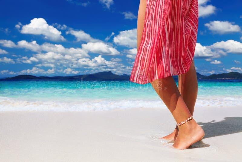 Woman On The Tropical Beach Royalty Free Stock Photos